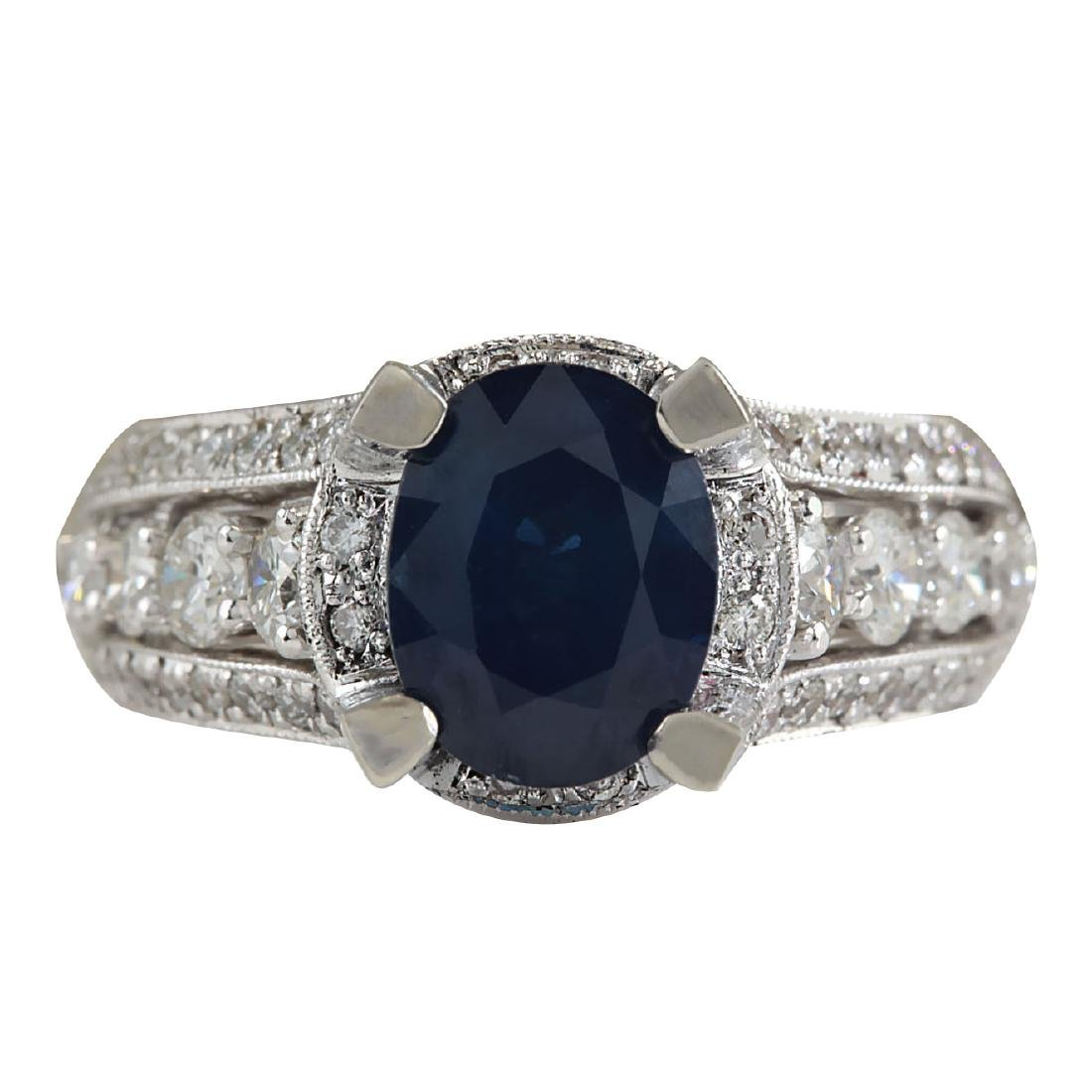 4.45CTW Natural Blue Sapphire And Diamond Ring In 18K