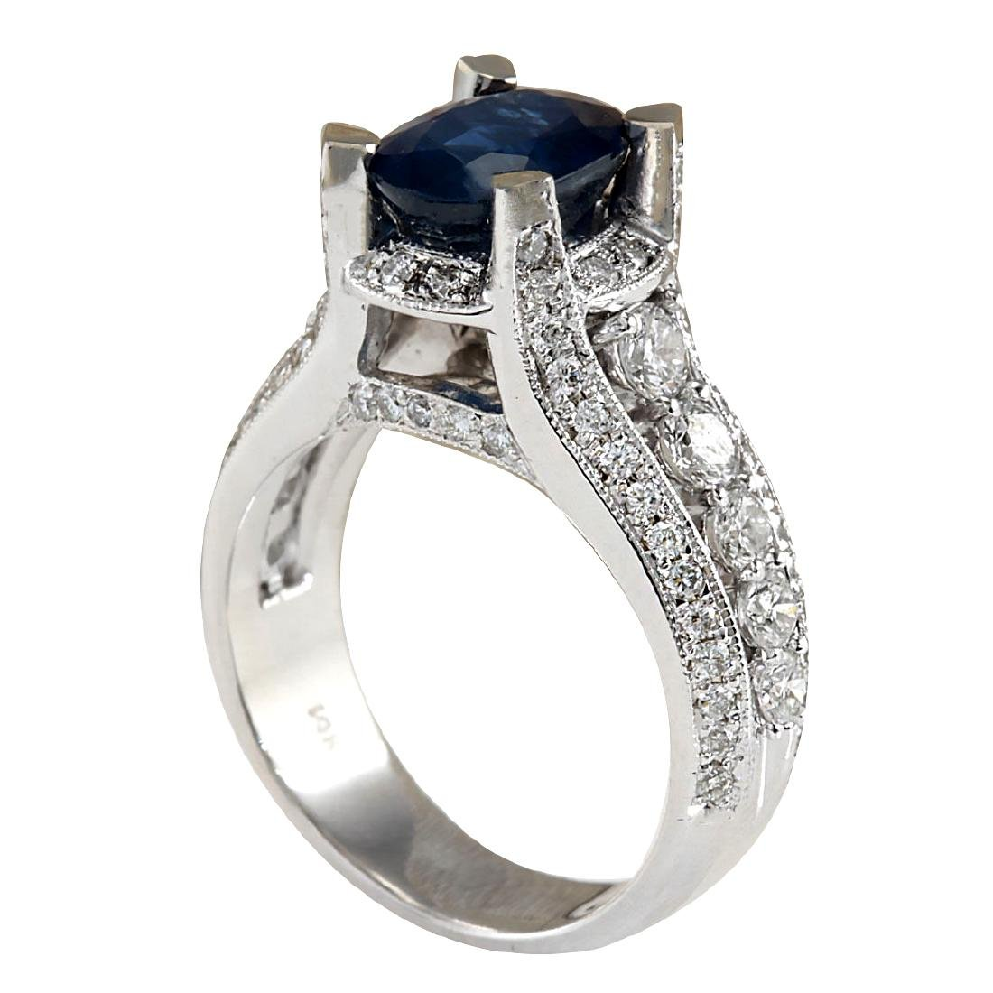 4.45CTW Natural Blue Sapphire And Diamond Ring In 18K - 3