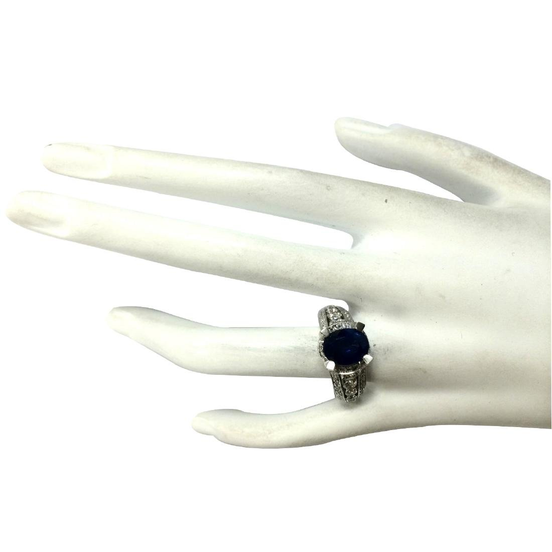 4.45CTW Natural Blue Sapphire And Diamond Ring In 18K - 4