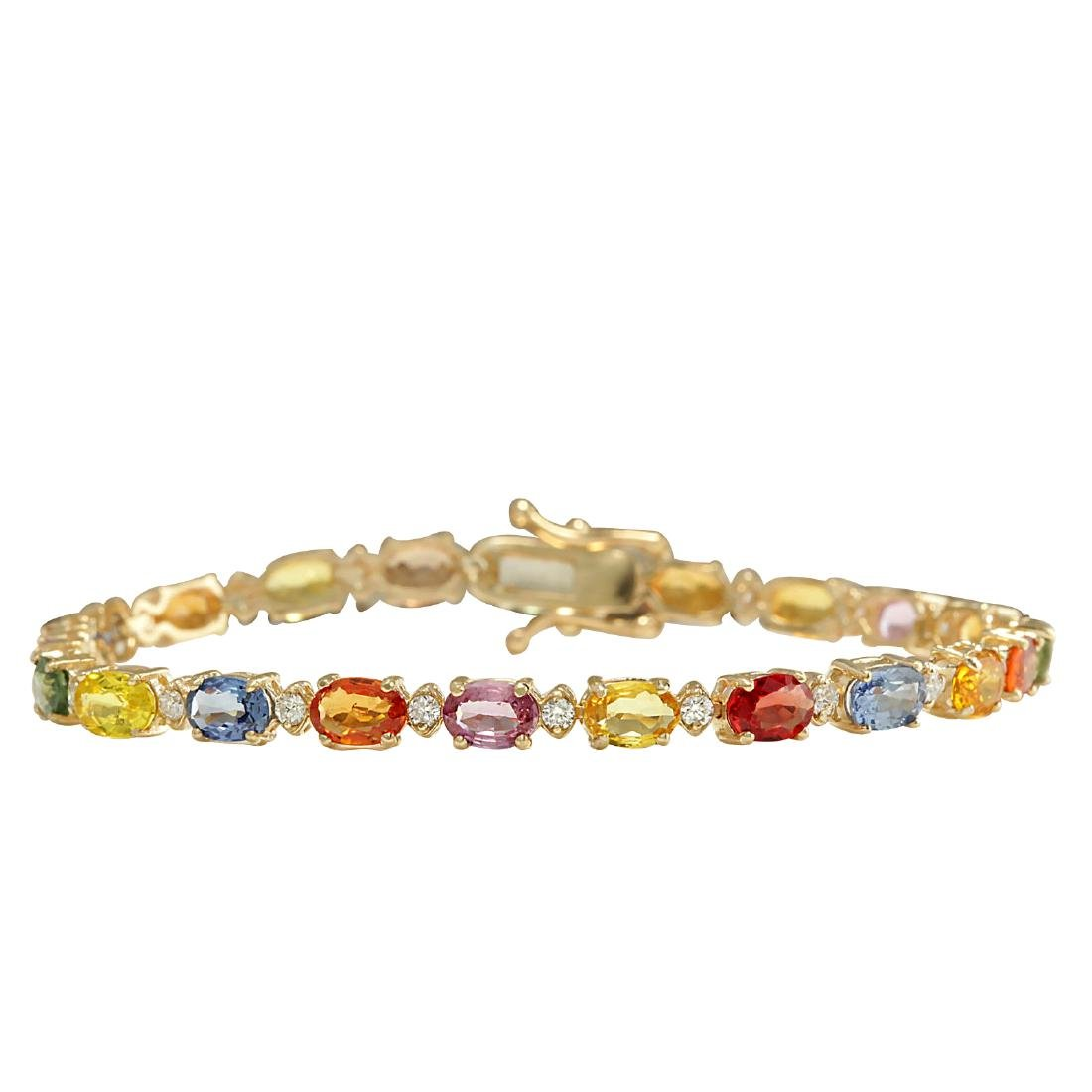 12.74CTW Natural Sapphire And Diamond Bracelet In 18K