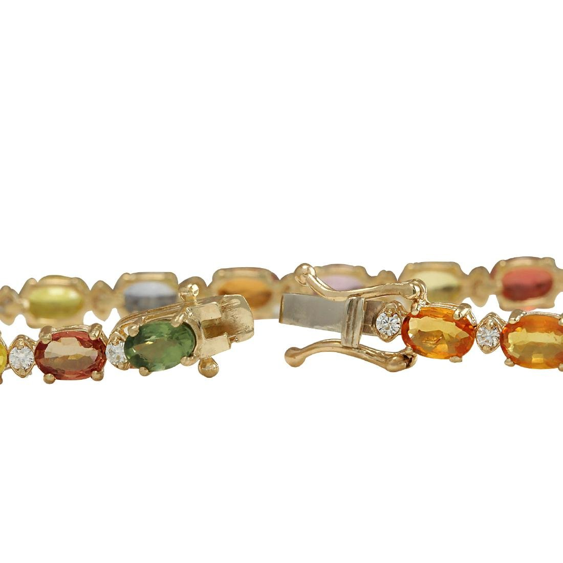 12.74CTW Natural Sapphire And Diamond Bracelet In 18K - 2