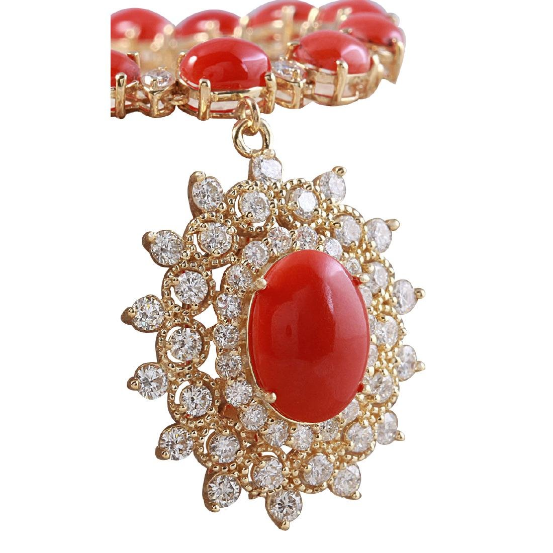 33.22CTW Natural Red Coral And Diamond Necklace In 18K