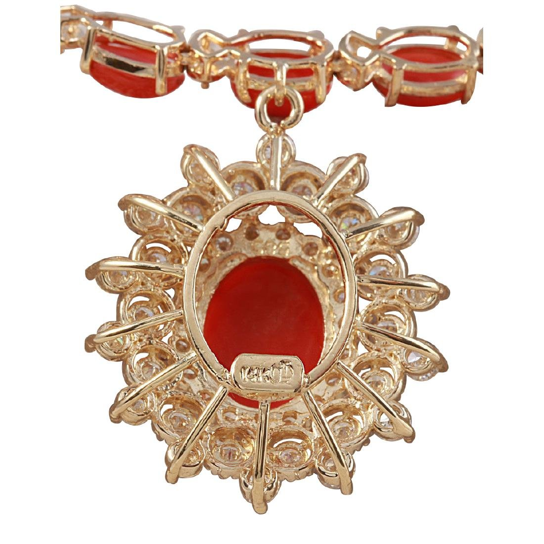 33.22CTW Natural Red Coral And Diamond Necklace In 18K - 2