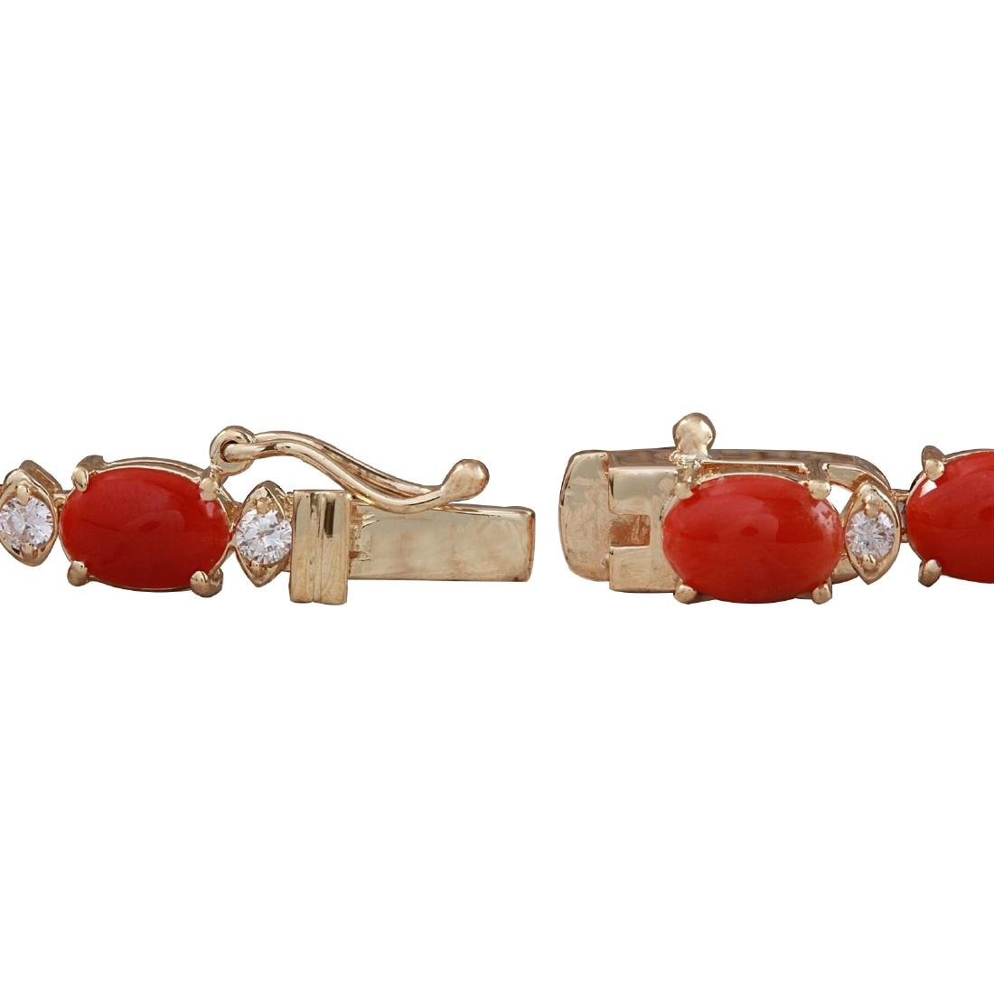 33.22CTW Natural Red Coral And Diamond Necklace In 18K - 3