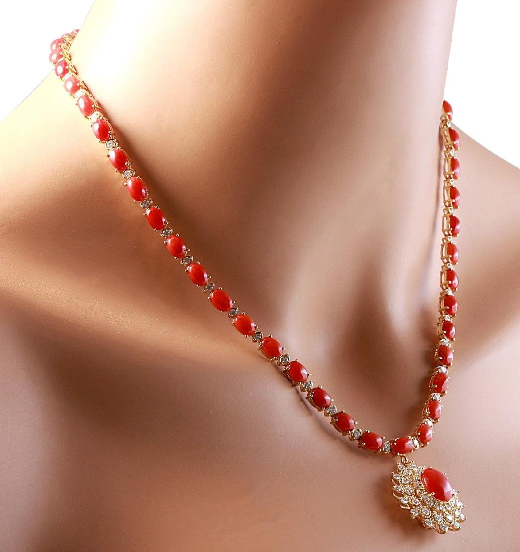 33.22CTW Natural Red Coral And Diamond Necklace In 18K - 4
