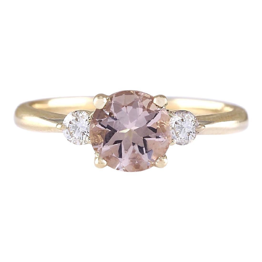 1.20 CTW Natural Morganite And Diamond Ring In 18K