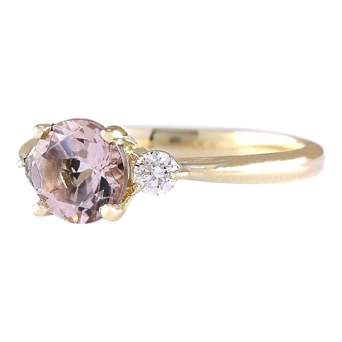 1.20 CTW Natural Morganite And Diamond Ring In 18K - 2