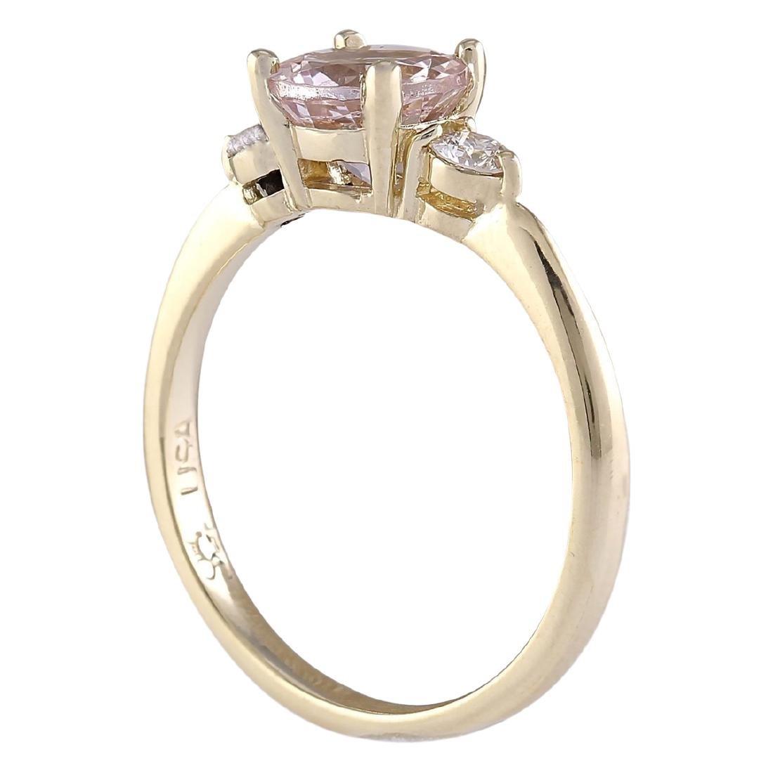 1.20 CTW Natural Morganite And Diamond Ring In 18K - 3