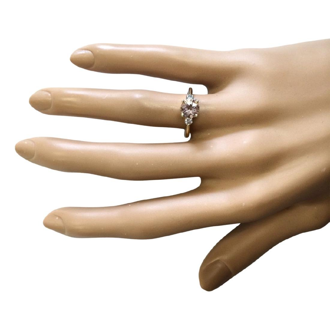 1.20 CTW Natural Morganite And Diamond Ring In 18K - 4