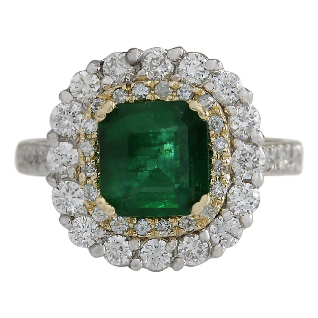 2.88 CTW Natural Emerald And Diamond Ring 18K Solid