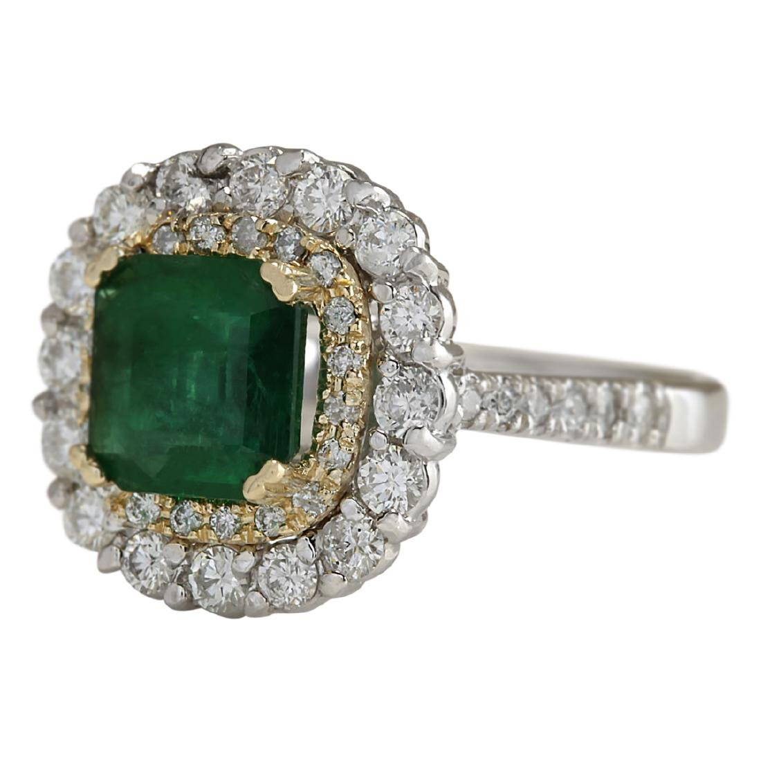 2.88 CTW Natural Emerald And Diamond Ring 18K Solid - 2