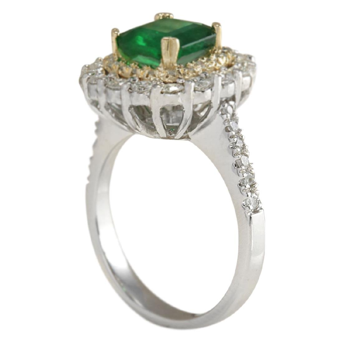 2.88 CTW Natural Emerald And Diamond Ring 18K Solid - 3