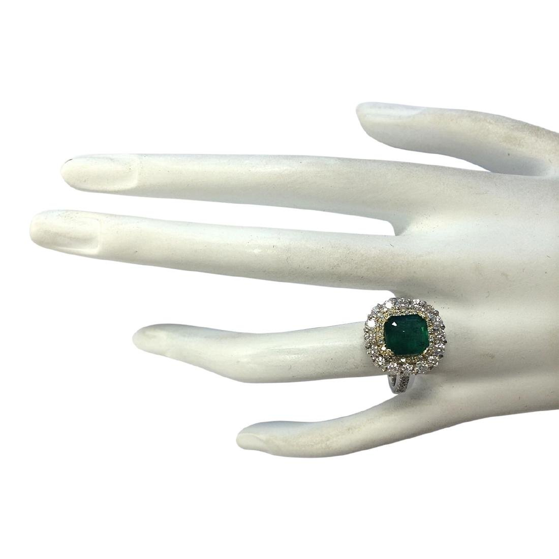 2.88 CTW Natural Emerald And Diamond Ring 18K Solid - 4