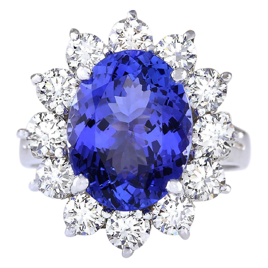 6.78 CTW Natural Blue Tanzanite And Diamond Ring 18K