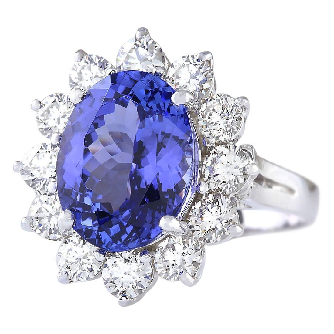 6.78 CTW Natural Blue Tanzanite And Diamond Ring 18K - 2