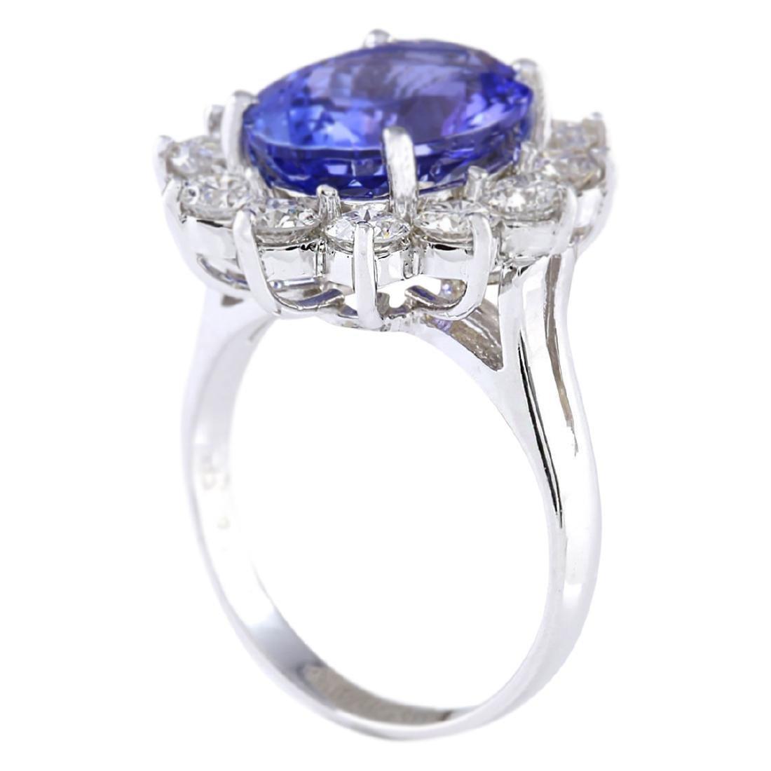 6.78 CTW Natural Blue Tanzanite And Diamond Ring 18K - 3