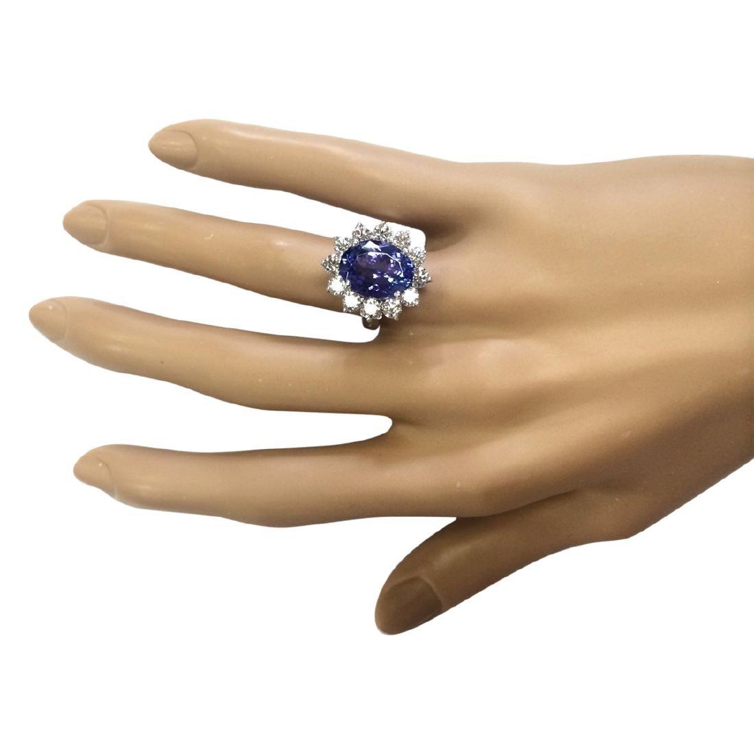 6.78 CTW Natural Blue Tanzanite And Diamond Ring 18K - 4
