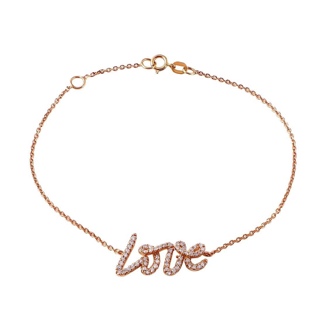 0.31 Carat Natural Diamond 18K Solid Rose Gold Bracelet