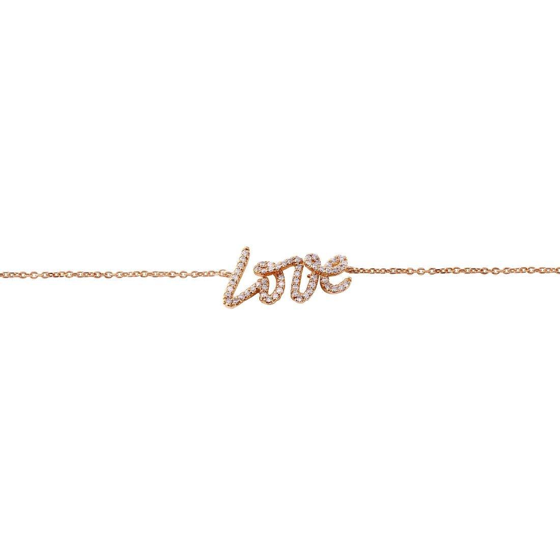 0.31 Carat Natural Diamond 18K Solid Rose Gold Bracelet - 2