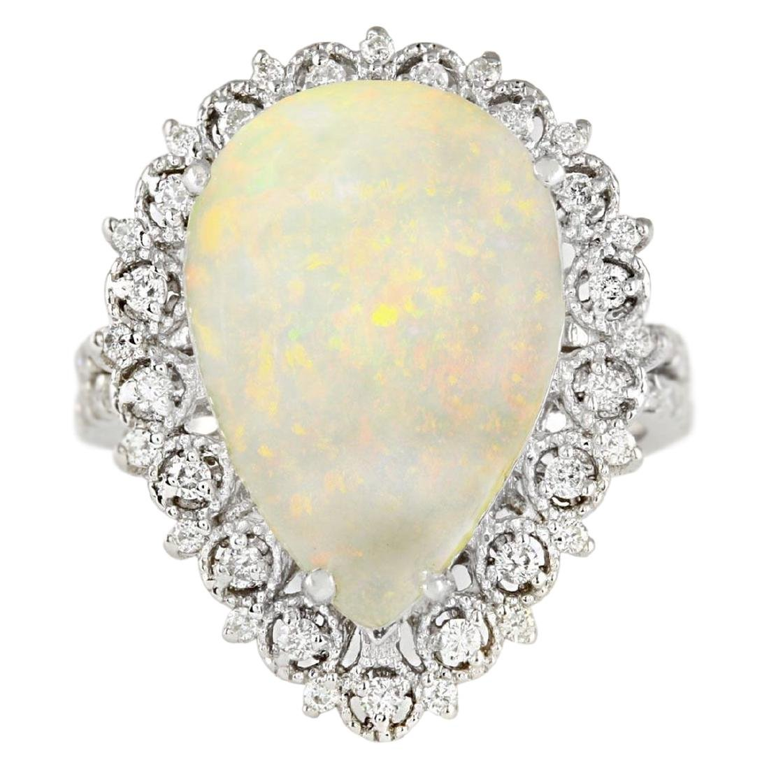 4.93 CTW Natural Opal And Diamond Ring In18K White Gold