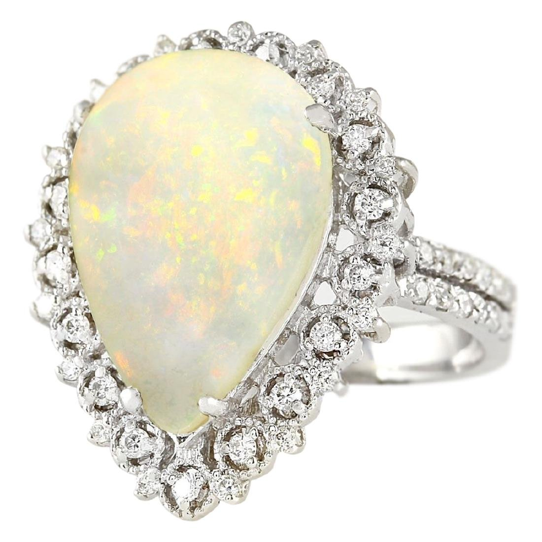 4.93 CTW Natural Opal And Diamond Ring In18K White Gold - 2