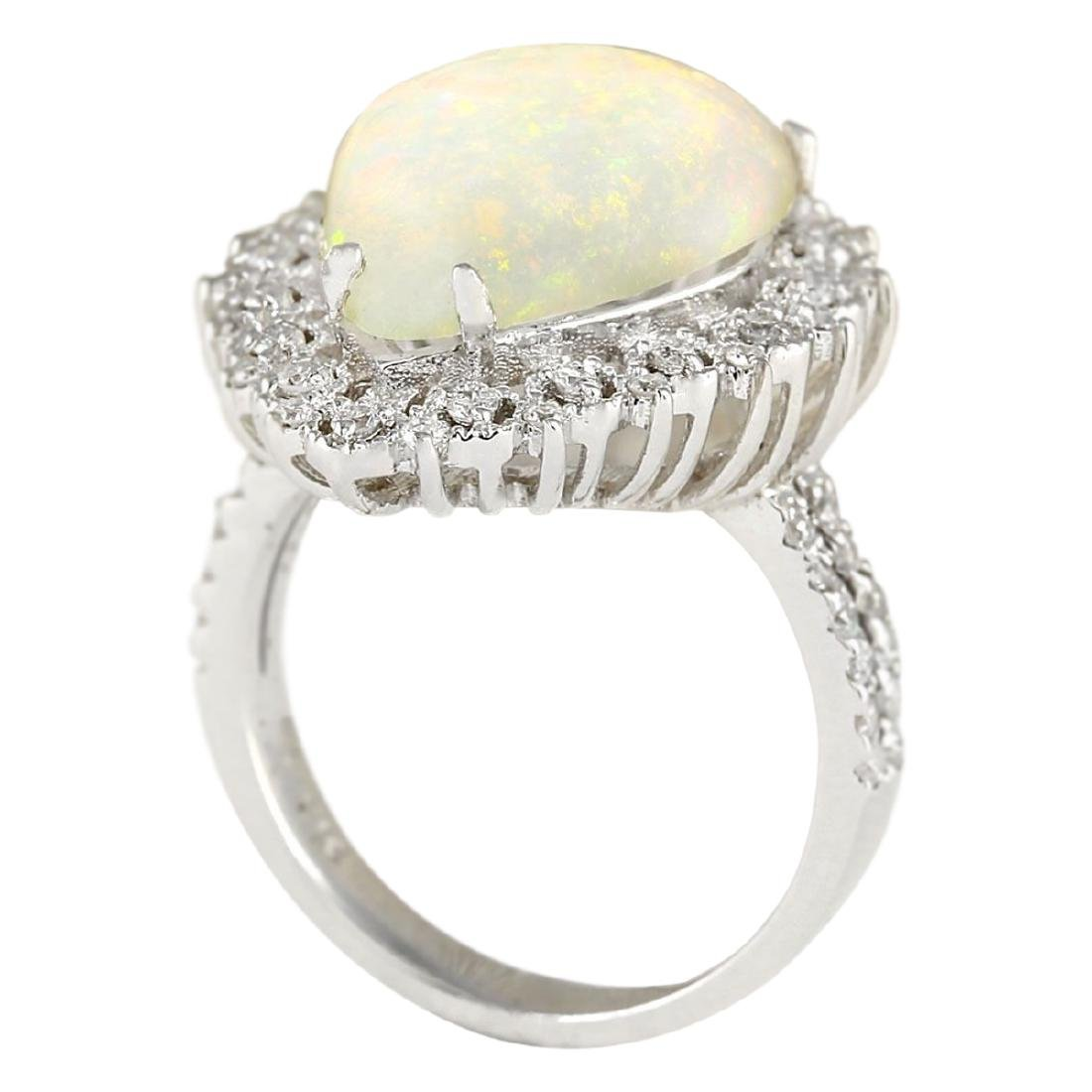 4.93 CTW Natural Opal And Diamond Ring In18K White Gold - 3