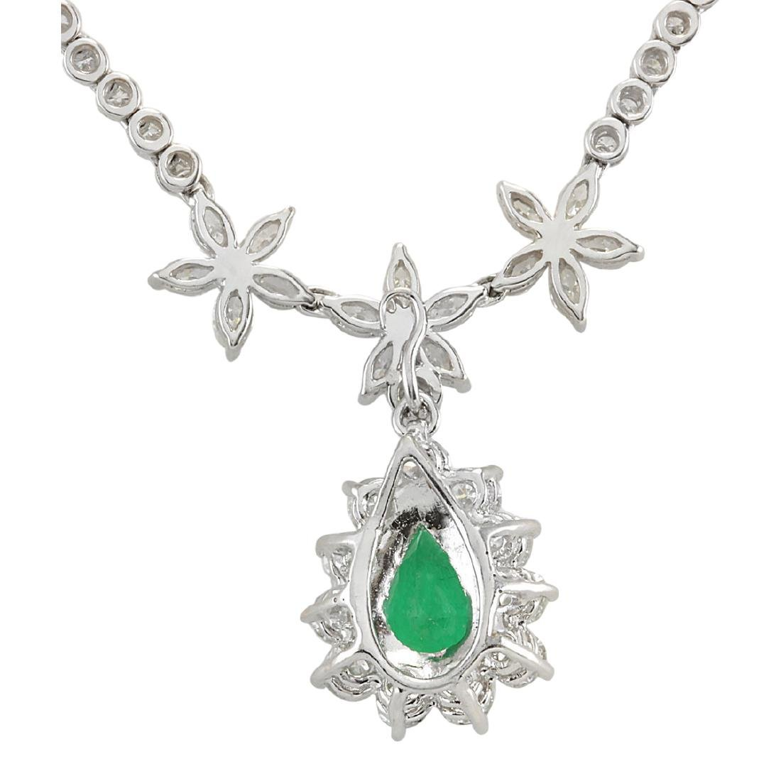 12.43 CTW Natural Emerald And Diamond Necklace In 18K - 2