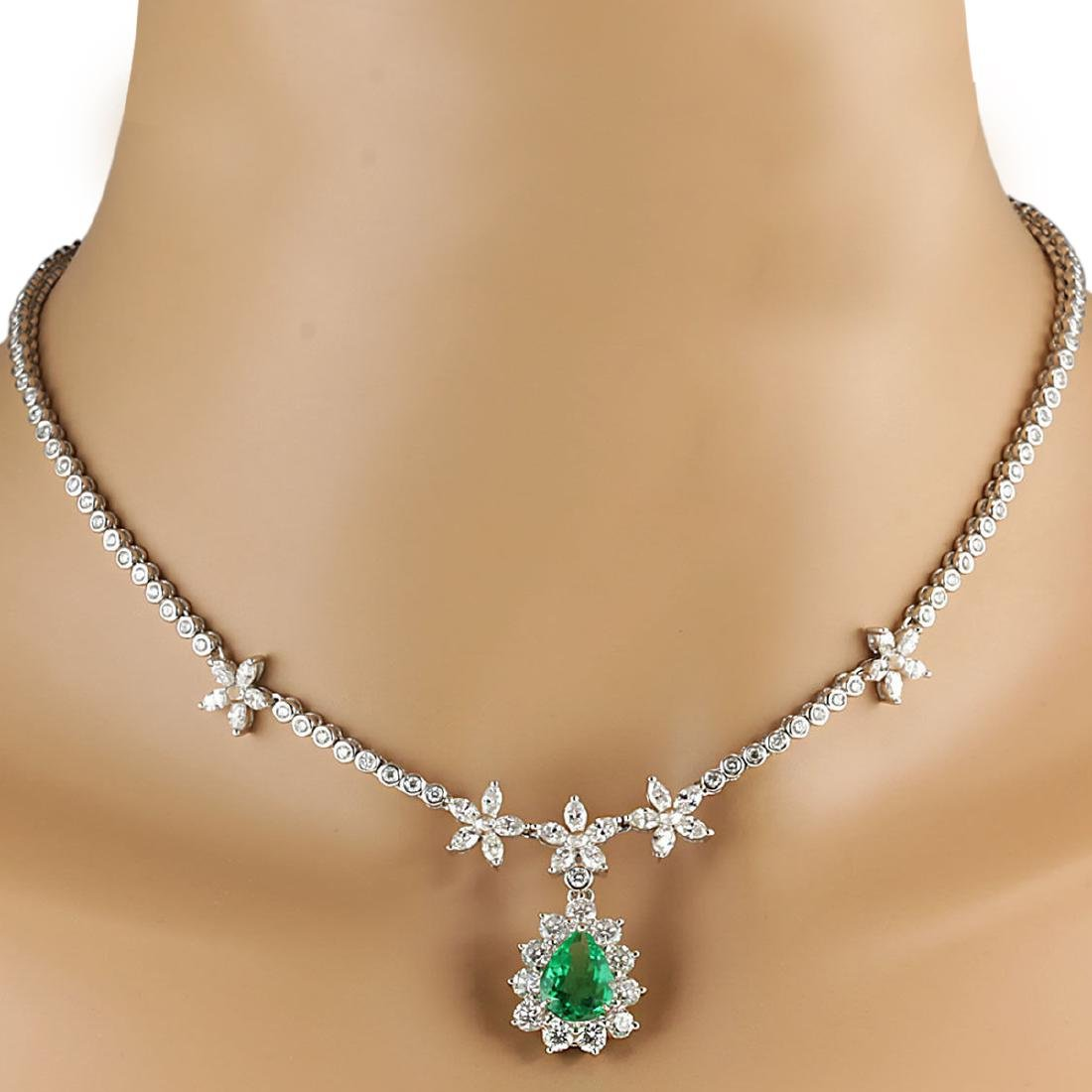 12.43 CTW Natural Emerald And Diamond Necklace In 18K - 3