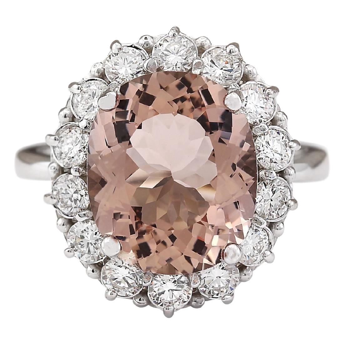 7.04 CTW Natural Morganite And Diamond Ring In 18K