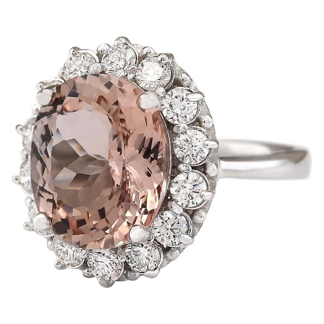7.04 CTW Natural Morganite And Diamond Ring In 18K - 2