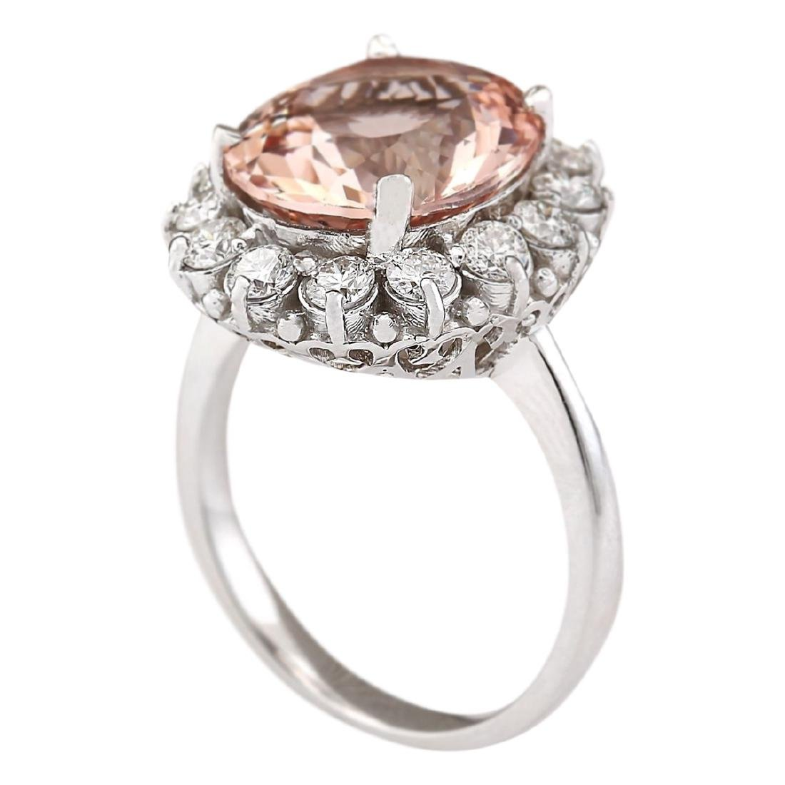 7.04 CTW Natural Morganite And Diamond Ring In 18K - 3