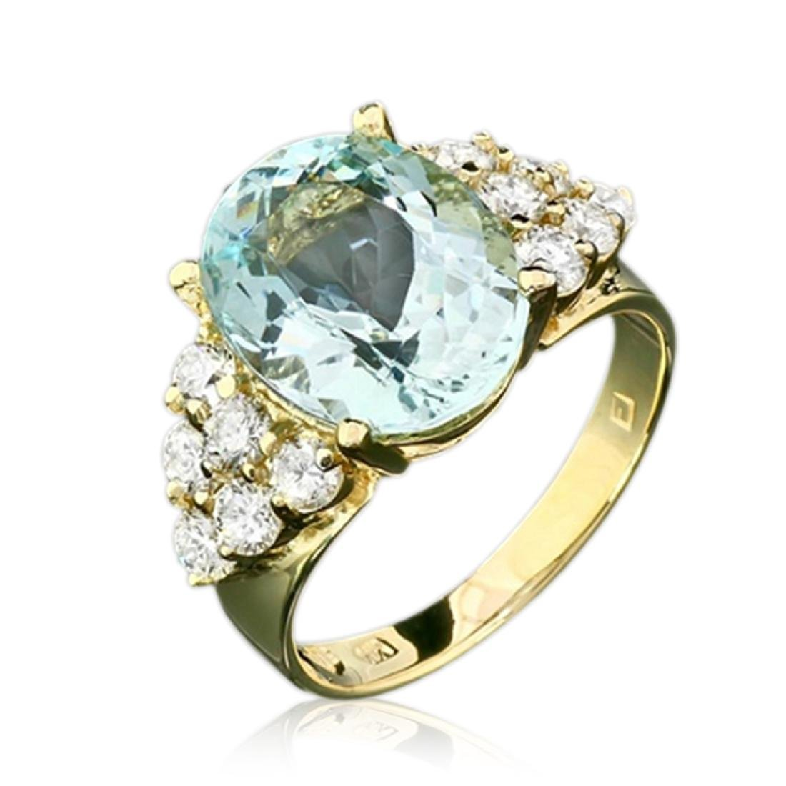 1.10 Carat Natural Aquamarine 18K Solid Yellow Gold