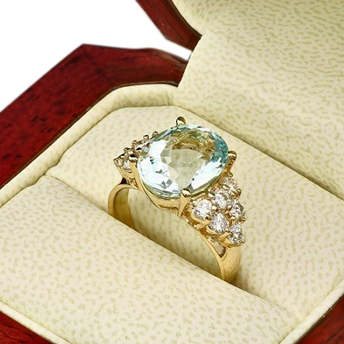 1.10 Carat Natural Aquamarine 18K Solid Yellow Gold - 2