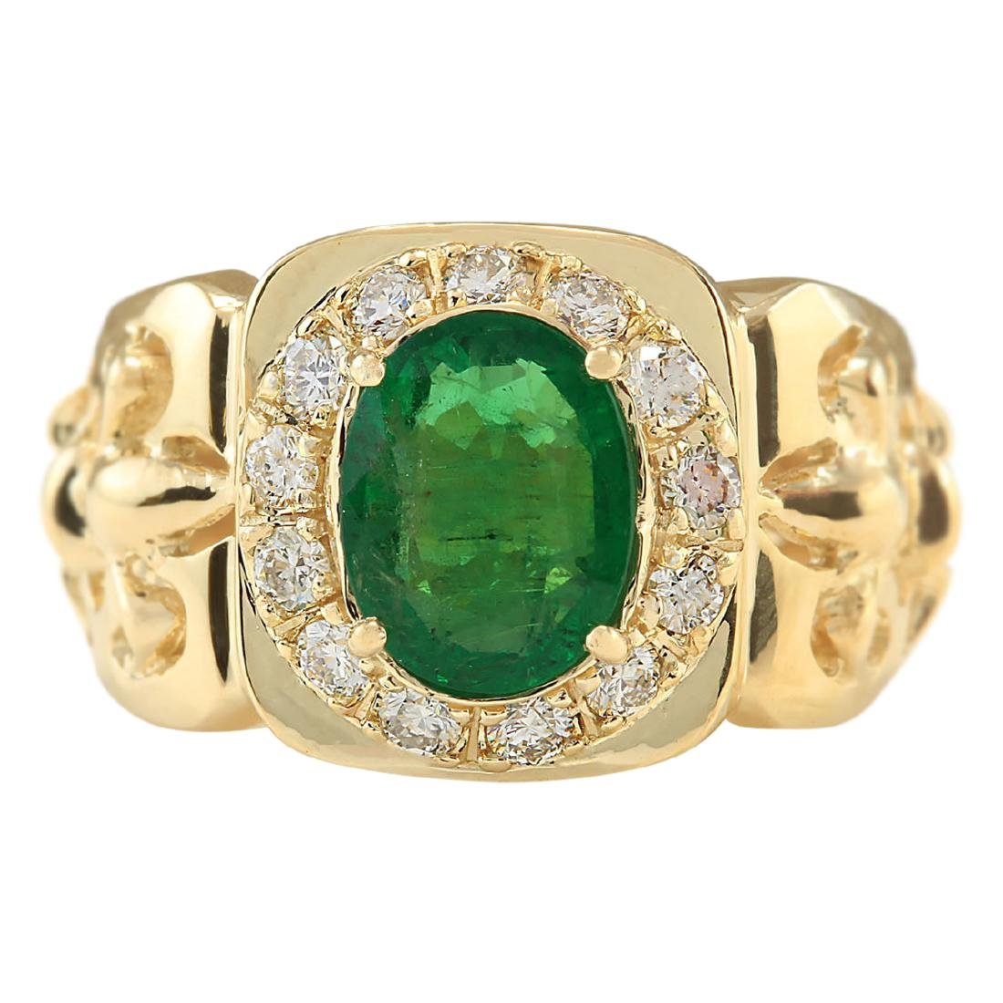 3.02 CTW Natural Emerald And Diamond Ring In 18K Yellow