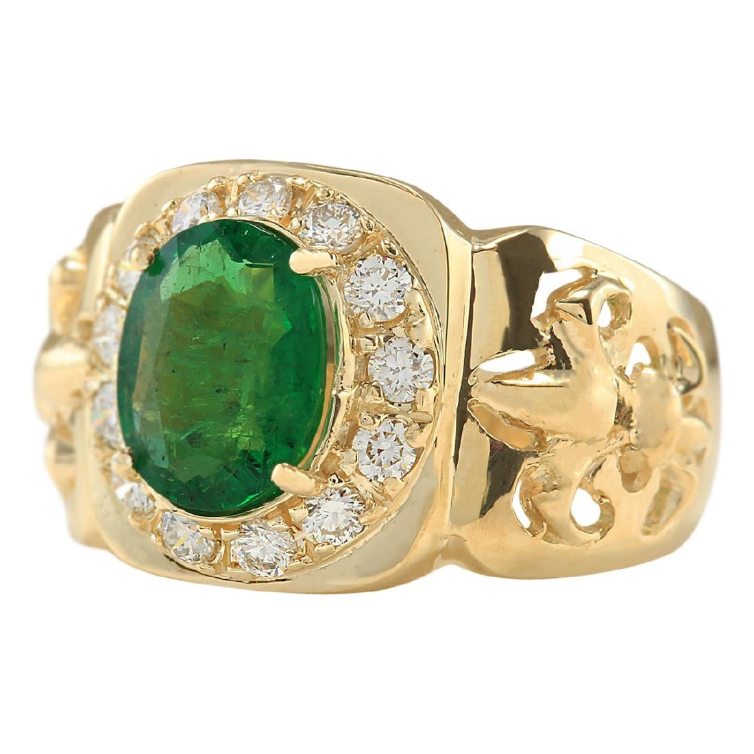 3.02 CTW Natural Emerald And Diamond Ring In 18K Yellow - 2