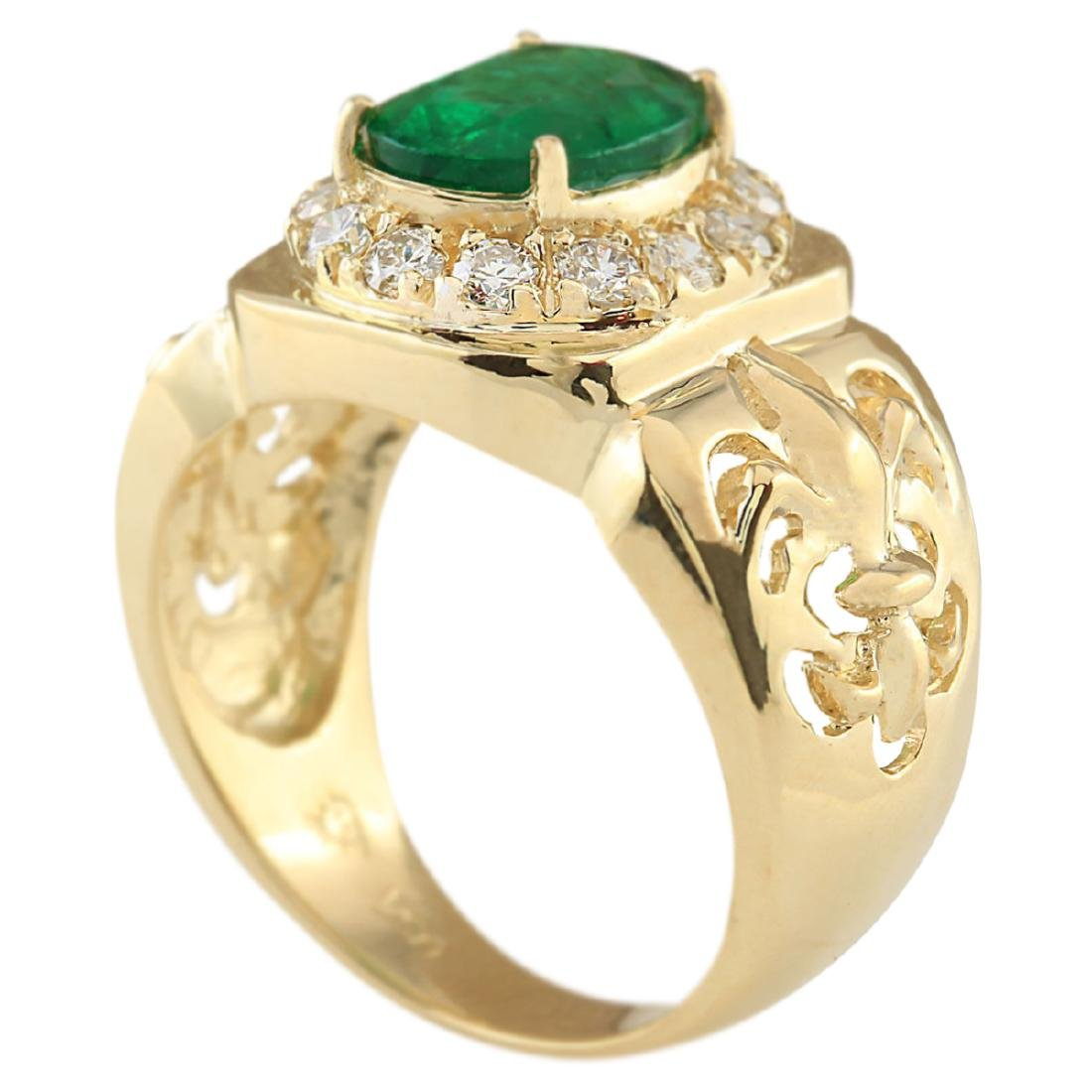 3.02 CTW Natural Emerald And Diamond Ring In 18K Yellow - 3