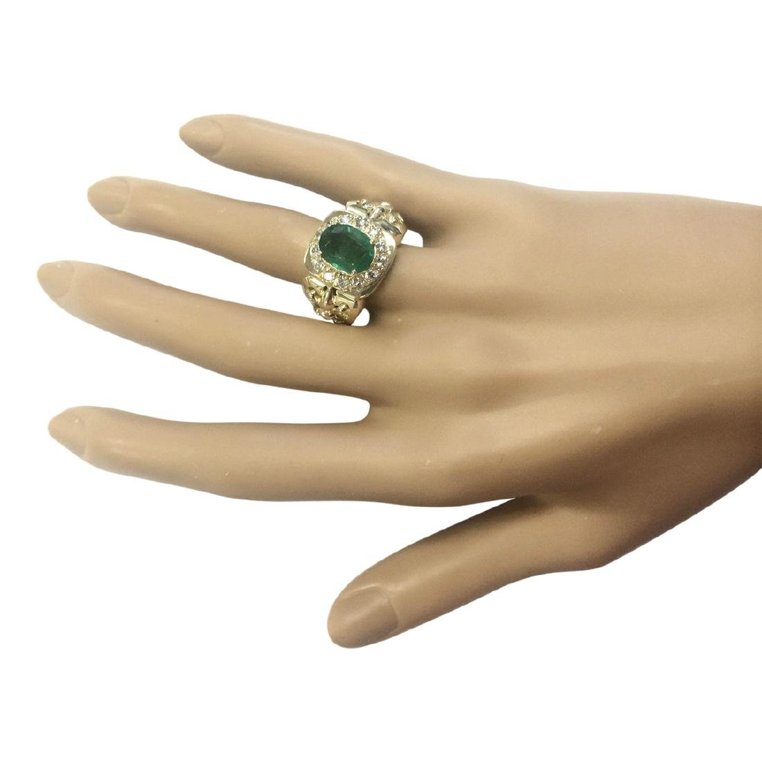 3.02 CTW Natural Emerald And Diamond Ring In 18K Yellow - 4