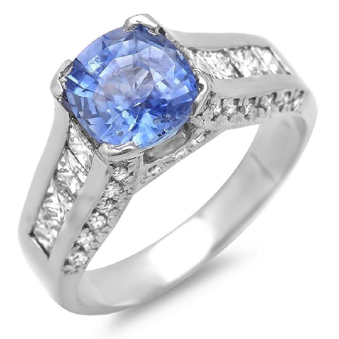 3.88 Carat Natural Sapphire 18K Solid White Gold