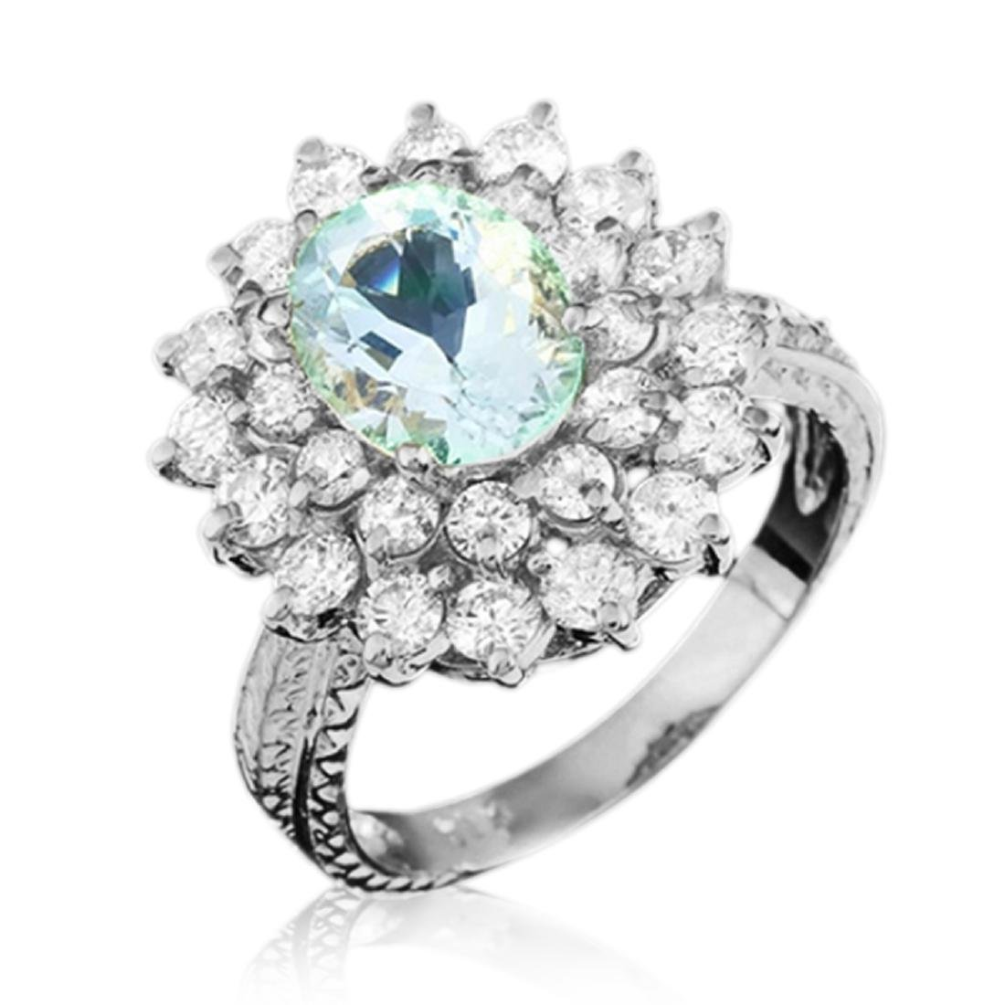 3.50 Carat Natural Aquamarine 18K Solid White Gold