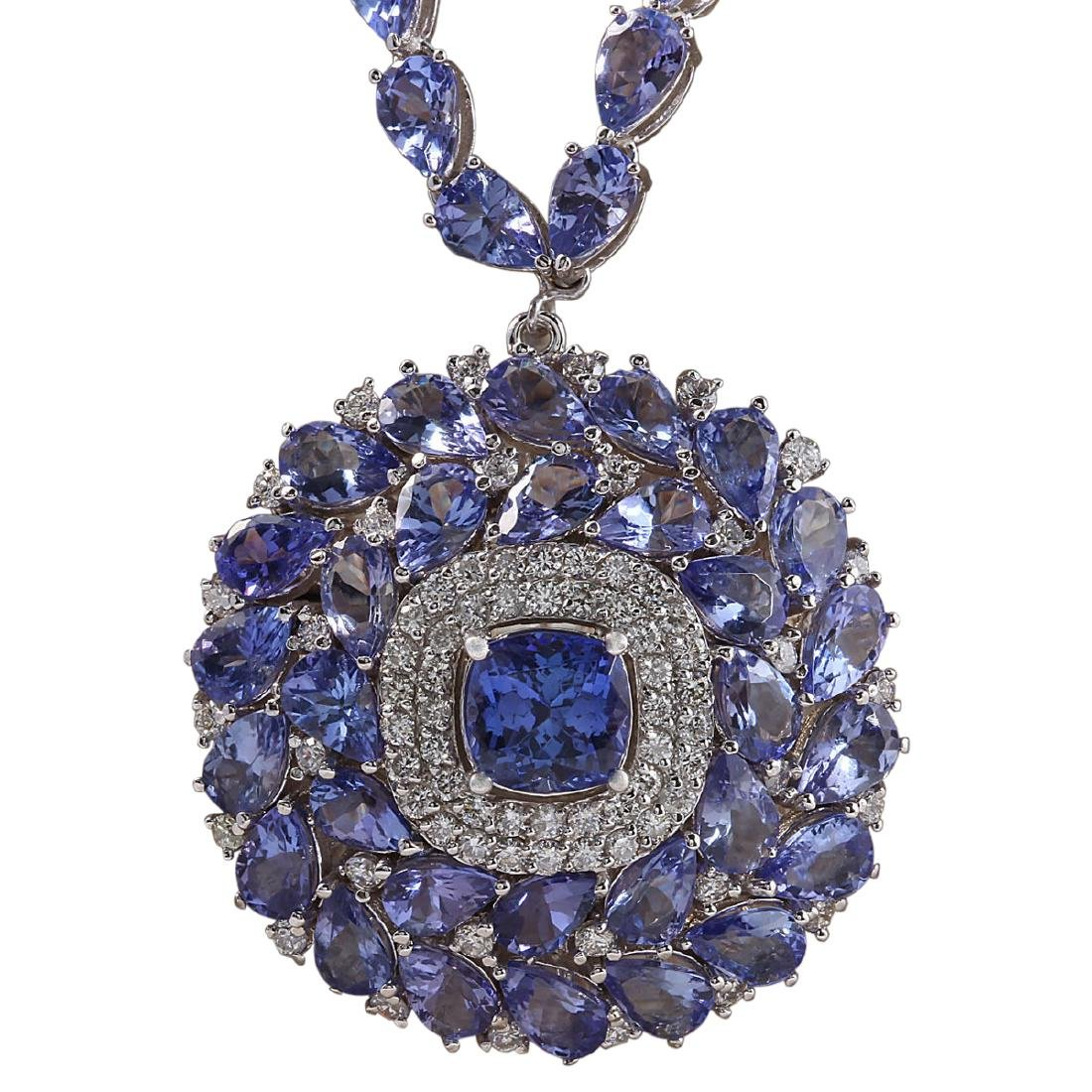63.10 CTW Natural Tanzanite And Diamond Necklace In 18K