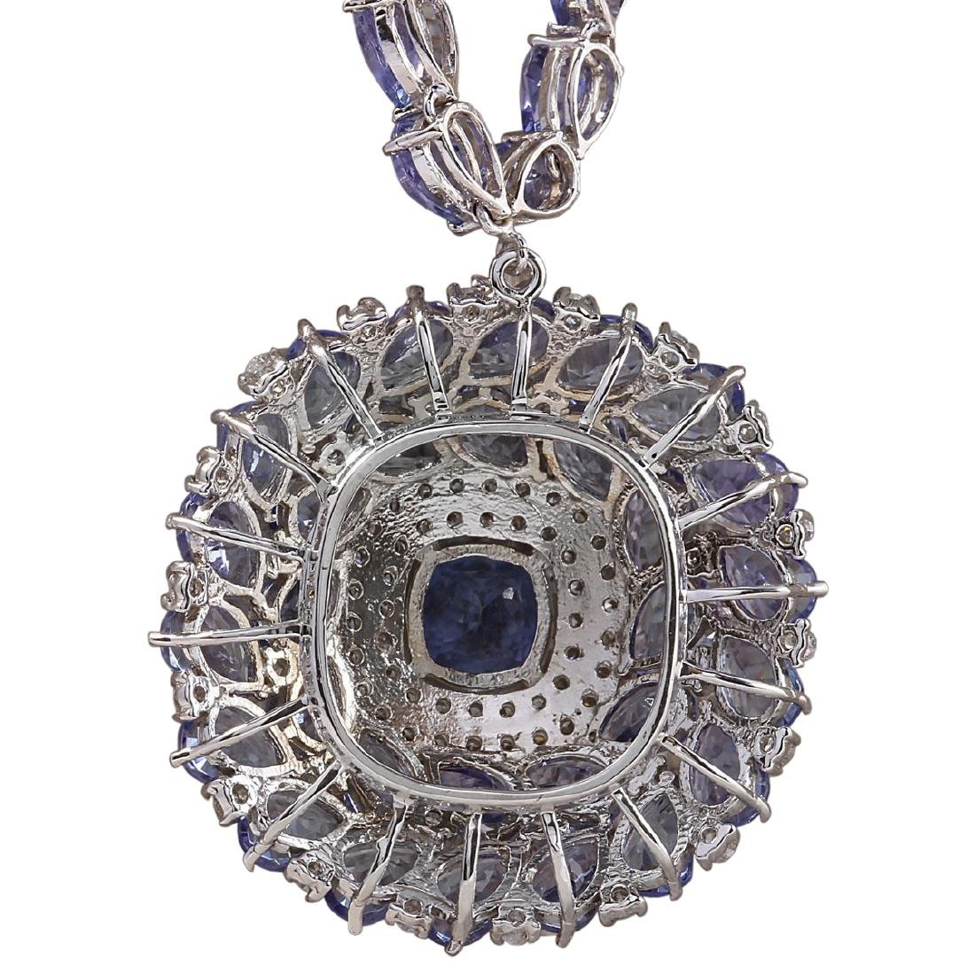 63.10 CTW Natural Tanzanite And Diamond Necklace In 18K - 3