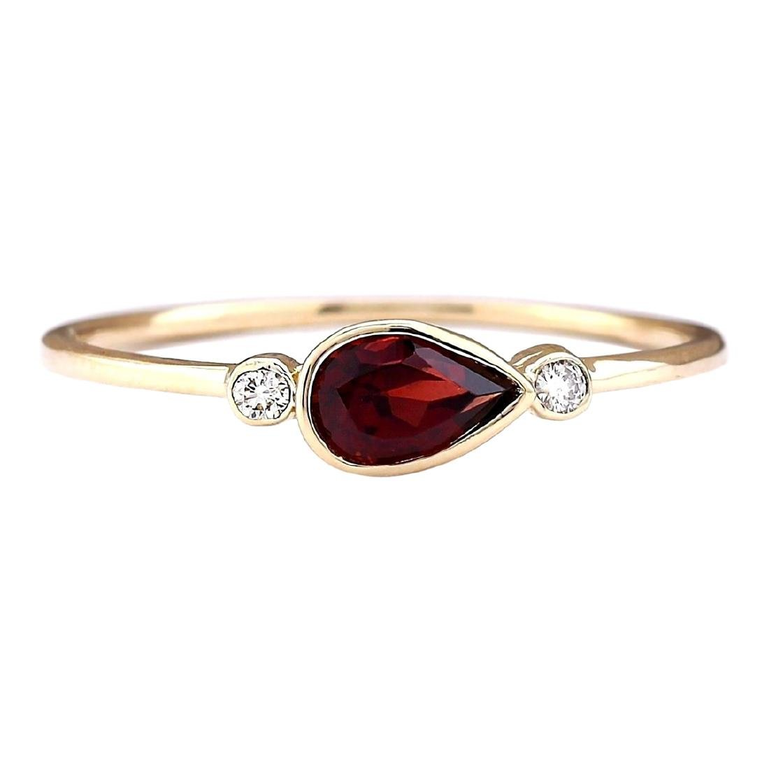 0.56 CTW Natural Rhodolite Garnet Ring In 18K Yellow