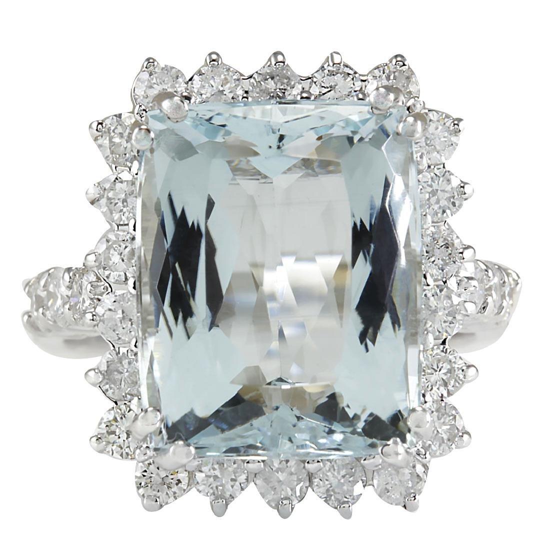 10.55CTW Natural Aquamarine And Diamond Ring In 18K