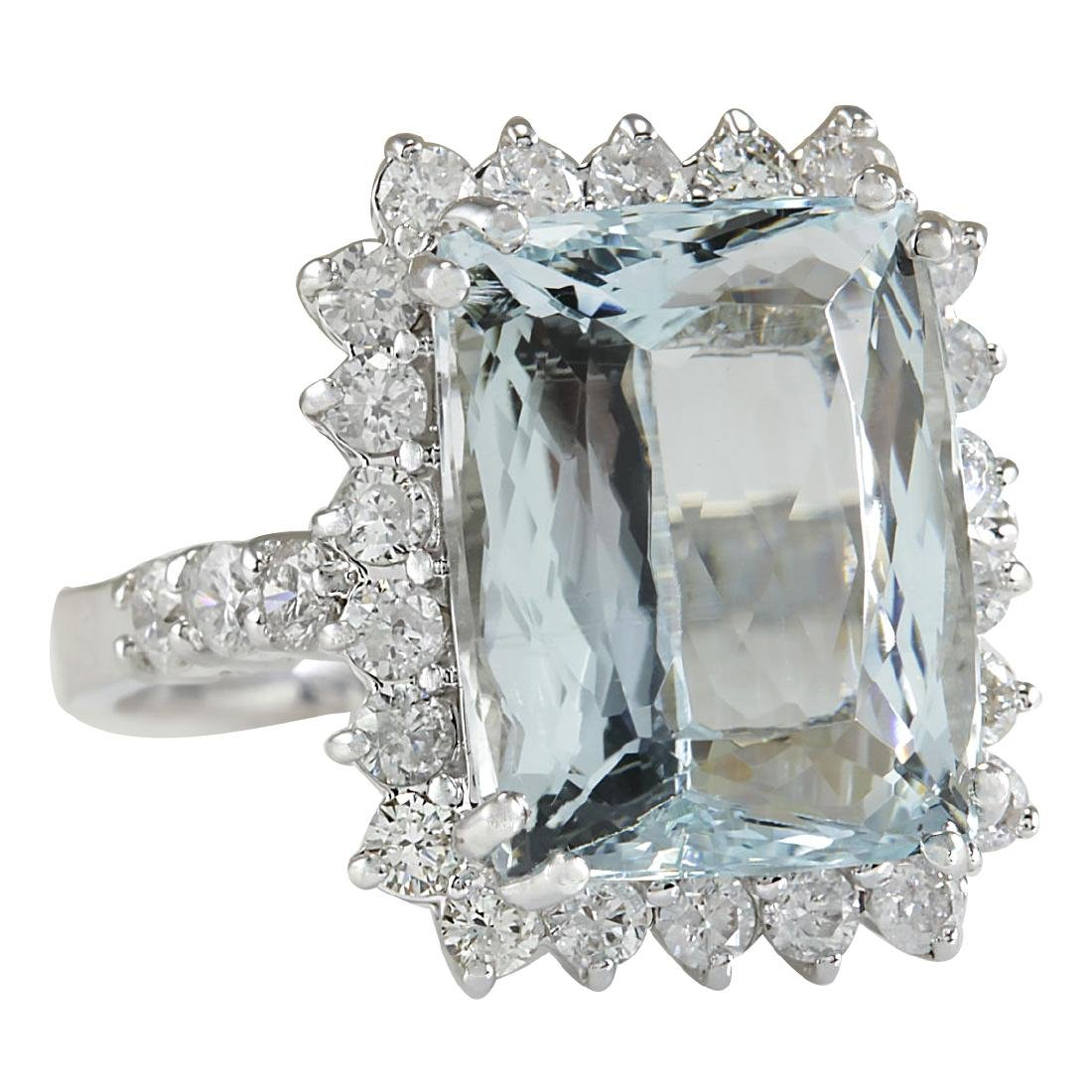 10.55CTW Natural Aquamarine And Diamond Ring In 18K - 2