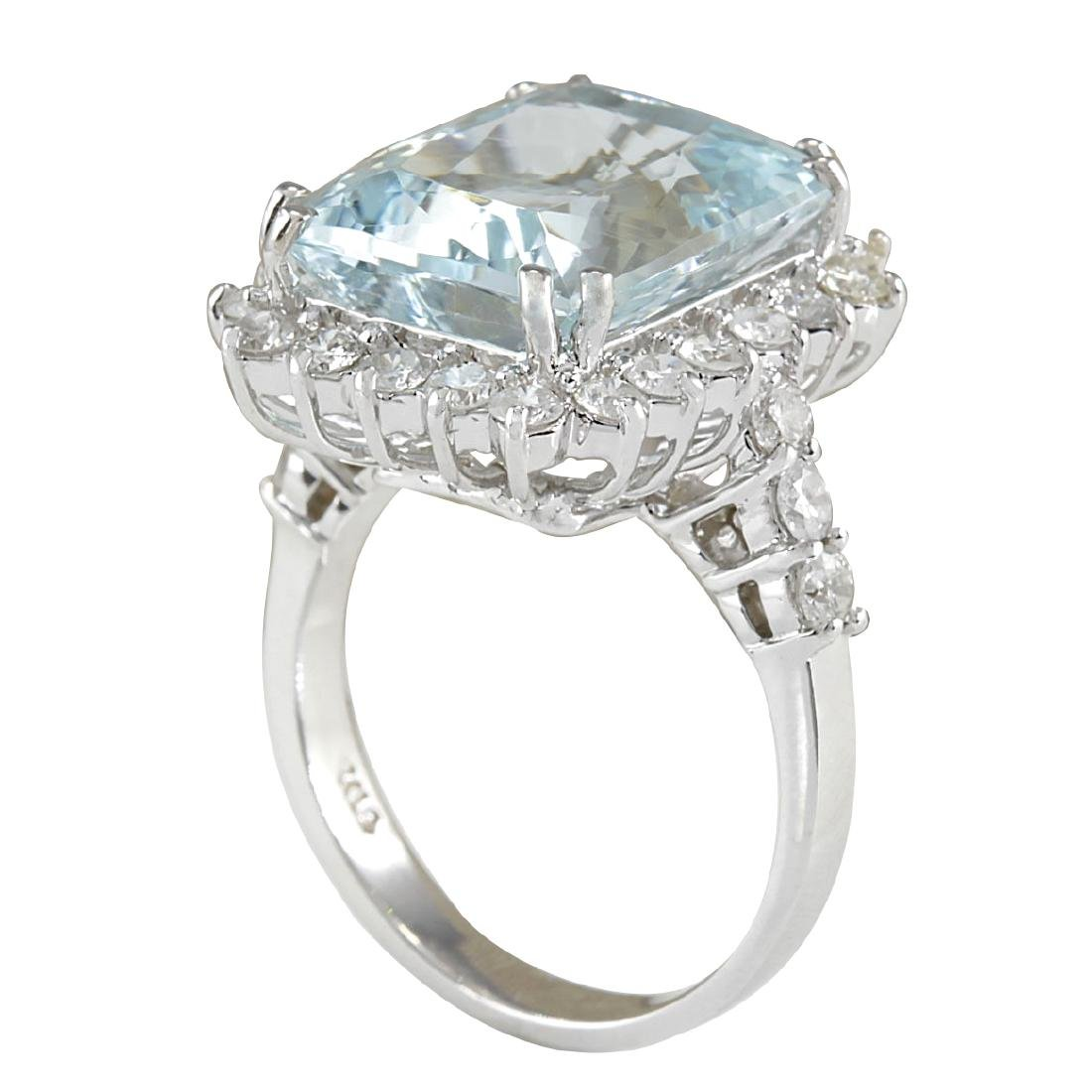10.55CTW Natural Aquamarine And Diamond Ring In 18K - 3