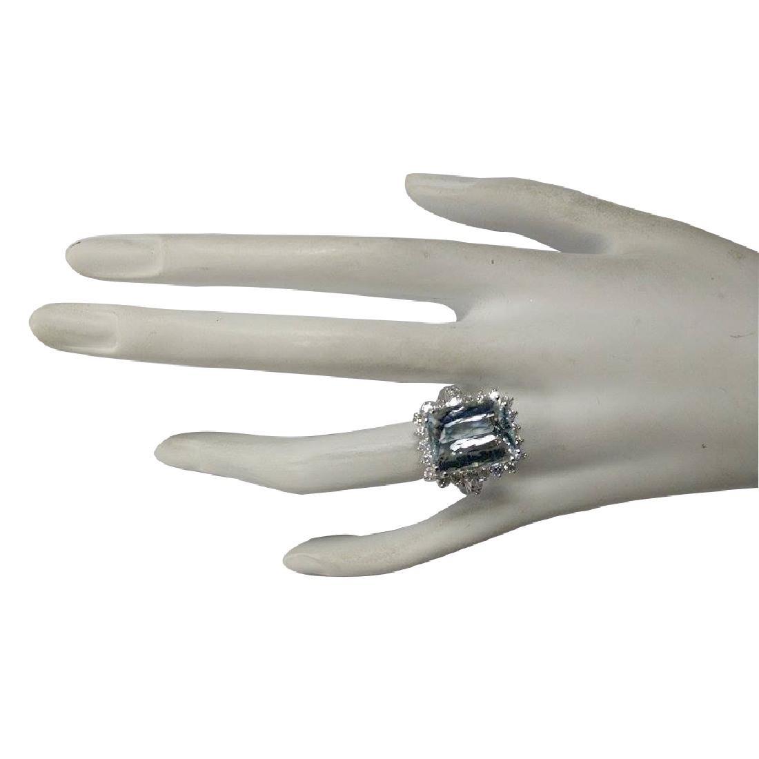 10.55CTW Natural Aquamarine And Diamond Ring In 18K - 4