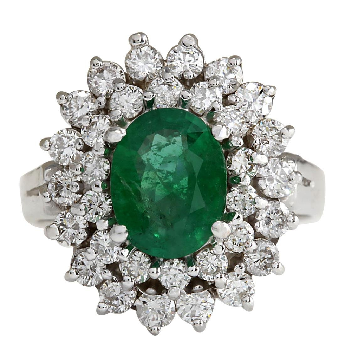 2.81CTW Natural Emerald Diamond Ring 18K Solid White