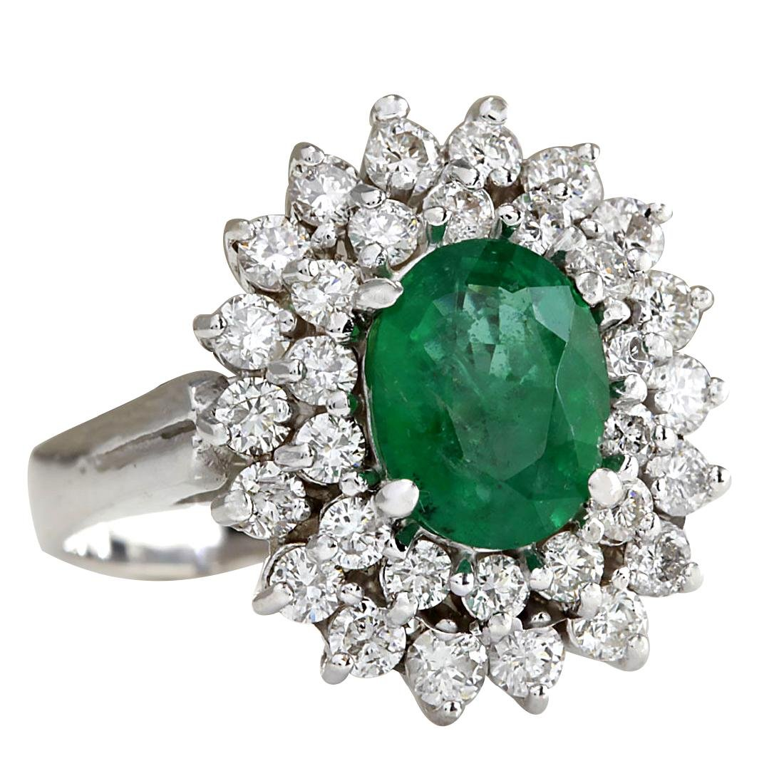 2.81CTW Natural Emerald Diamond Ring 18K Solid White - 2