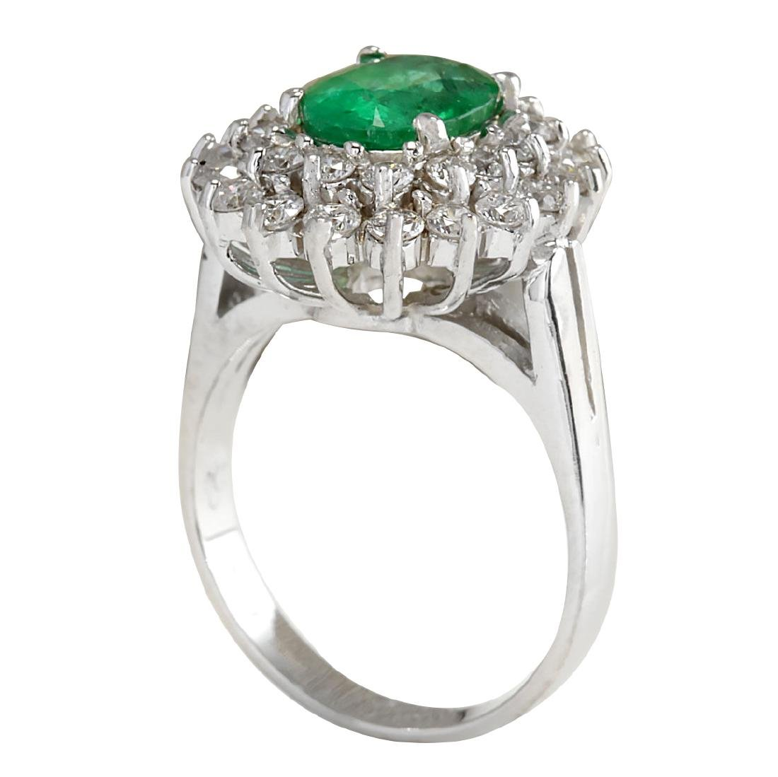 2.81CTW Natural Emerald Diamond Ring 18K Solid White - 3