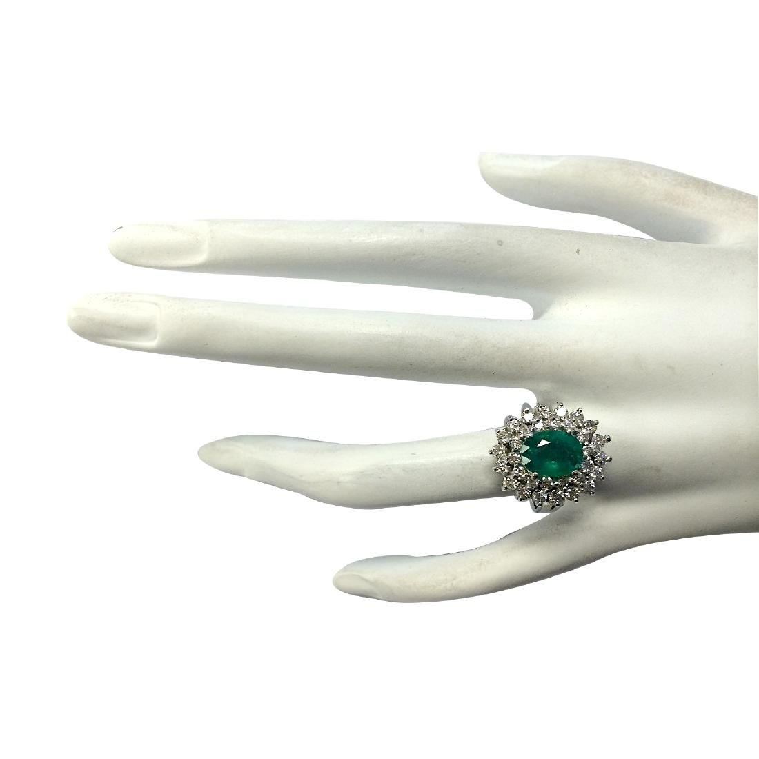 2.81CTW Natural Emerald Diamond Ring 18K Solid White - 4